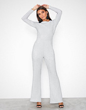 Glamorous Party Flare Jumpsuit Silver Metal