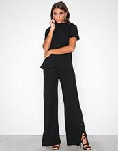 NLY Trend Svart Rib Button Pant Set