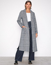 New Look Black Print Check Bar Back Maxi Coat