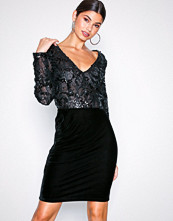 NLY Eve Svart Sequin Lace Draped Dress