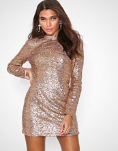 Missguided Rose Gold Sequin Cut Out Back Long Sleeve Mini