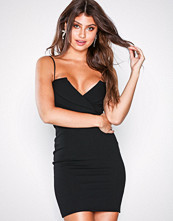 Missguided Black Fold Over Strappy Bodycon Dress