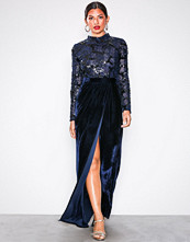 NLY Eve Navy Sequin Top Lace Gown