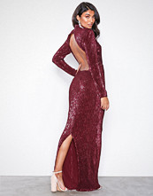 NLY Eve Burgundy Power Up Sequin Gown
