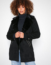 River Island Fur Bonded LL Jacket Black