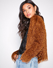 NLY Trend Shiny Feather Cardigan Bronze