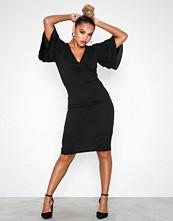 Parisian Black Frill Sleeve Wrap Front Bodycon Dress