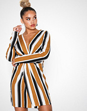 Missguided Mustard Striped long Sleeve Wrap Front Midi
