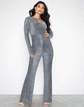 Glamorous Silver Metal Wrap Party Jumpsuit