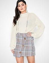 River Island Brown Check Wrap Mini Skirt
