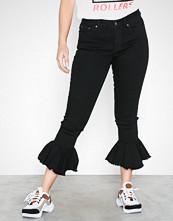 Vero Moda Svart Vmseven Mr Skinny Flounce Hem Jeans
