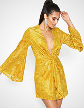 Missguided Mustard Flared Long Sleeve Twist Front Mini