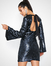 Rare London Sequin Flute Sleeve Open Back Dress