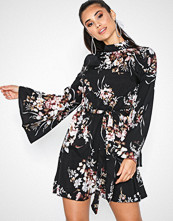 Parisian Floral Print High Neck Mini Dress