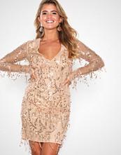 NLY Eve Champagne Sequin Fringe Dress