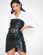 Rare London PU Belted Mini Dress