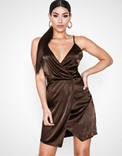 Parisian Satin Wrap Over Mini Dress