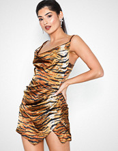 Missguided Satin Tiger Print Drape Mini Dress