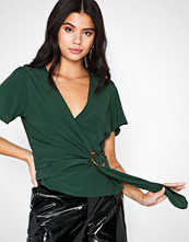 New Look Faux Horn Ring Buckle Wrap Top