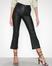 Missguided High Rise Coated Cropped Kickflare Jeans
