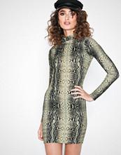 Parisian Snake High Neck Bodycon Mini Dress