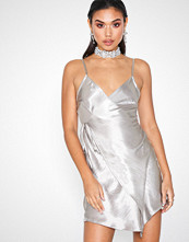 Missguided Asymmetric Hammered Satin Wrap Mini Dress