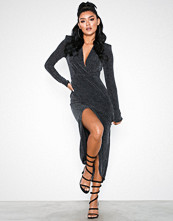 NLY One Plunge wrap Lurex Dress