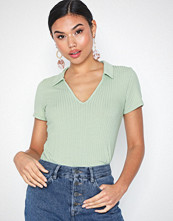 NLY Trend Rib Collar Top