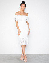 Rare London Off The Shoulder Lace Midi Dress