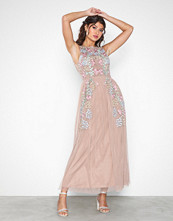 Maya Floral Embroidered Midaxi Dress Open Back