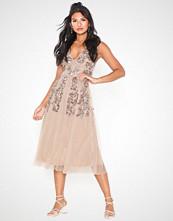 Maya V Neck Embellished Midi Dress