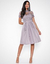 Little Mistress Knee Length Embroidery Mesh Dress