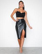 NLY One Leatherlook Midi Slit Skirt
