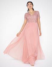 Maya Short Sleeve Tonal Sequin Maxi Dress