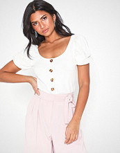 NLY Trend Puff Sleeve Button Top