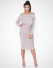 Ax Paris Slash Neck Glitter Ruched Dress