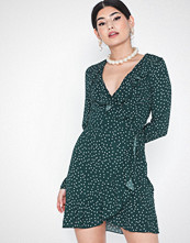 Parisian Polka Dot Wrap Frill Mini Dress