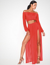 NLY One Mesh Double Split Skirt Rød