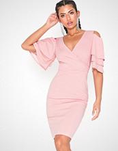 Parisian Frill Sleeve Wrap Bodycon Dress