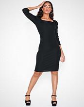 River Island Poppy Rib Mini Dress Black