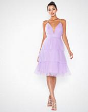 True Decadence Flounce Mesh Midi Dress