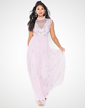 Maya Ruffel Neck Mesh Maxi Dress