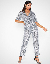 Missguided Printed Shirt Jumpsuit