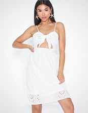 Missguided Tie Front Broderie Midi Dress