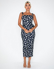 Missguided Floral Cami Tie Sleeve Midi Dress