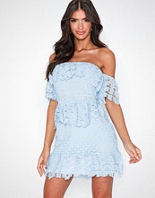 Parisian Bardot Lace Frill Mini Dress