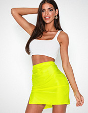 NLY One Ruched Slit Skirt Neon Yellow