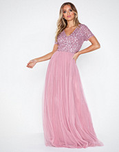 Maya Delicate Sequin V Neck Maxi Dress