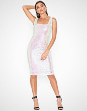 Rare London Square Neck Sequin Midi Dress