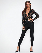Rare London Plunge Fringe Tassle Back Jumpsuit